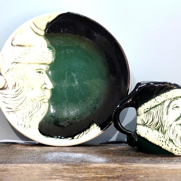 Vintage Flat Earth Santa Moon Plate and Mug
